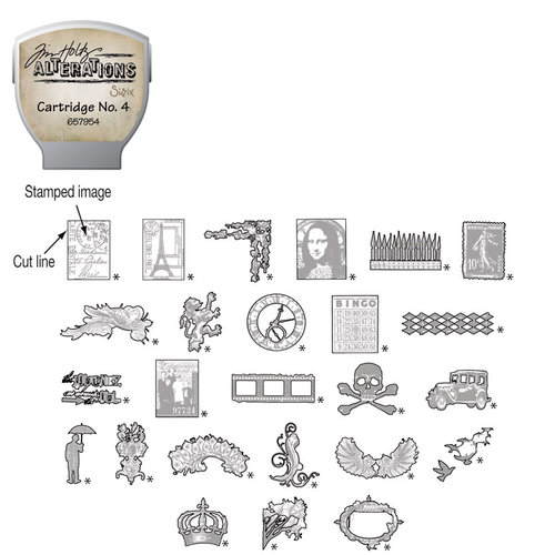Sizzix - EClips - Tim Holtz - Alterations Collection - Electronic Shape Cutting System - Cartridge - Stamp2Cut - Number 4
