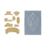 Sizzix - Framelits Die and Embossing Folder - Christmas - Ornament Set