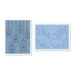 Sizzix - Textured Impressions - Embossing Folders - Birds and Birdcages Set 2