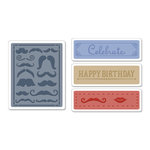 Sizzix - Textured Impressions - Embossing Folders - Mustache Set