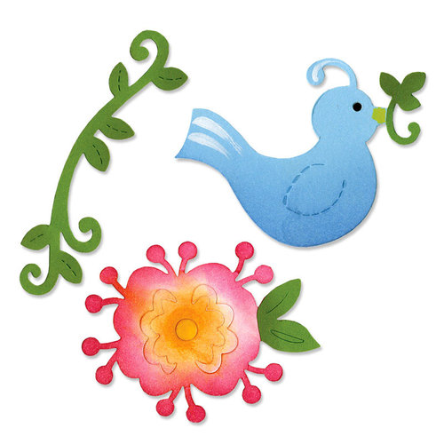 Sizzix - Home Entertaining Collection - Sizzlits Die - Medium - Bird and Flower Vine Set