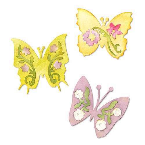 Sizzix - Botanical Sanctuary Collection -Sizzlits Die - Medium - Butterfly Set 3