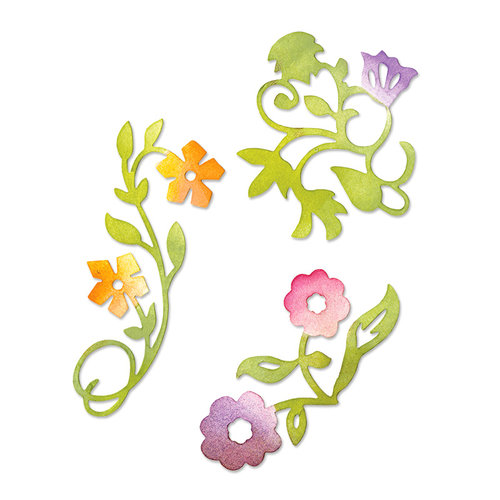 Sizzix - Botanical Sanctuary Collection -Sizzlits Die - Medium - Flower Vines Set