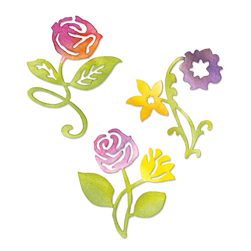 Sizzix - Botanical Sanctuary Collection -Sizzlits Die - Medium - Sunrise Blossoms Flower Set