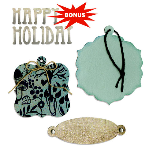 Sizzix - Basic Grey - Nordic Holiday Collection - Bigz and Sizzlits Die - Bookplate, Tags and Happy Holiday