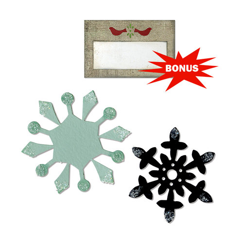 Sizzix - Basic Grey - Nordic Holiday Collection - Bigz and Sizzlits Die - Snowflakes and Tag with Birds