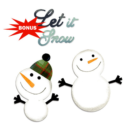 Sizzix - Basic Grey - Nordic Holiday Collection - Bigz and Sizzlits Die - Snowmen and Let it Snow