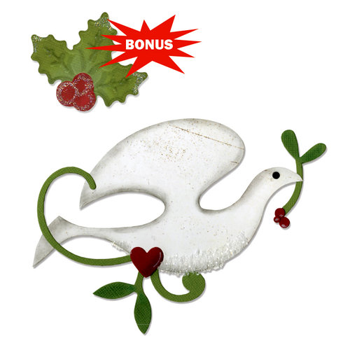 Sizzix - BasicGrey - Nordic Holiday Collection - Bigz and Embosslits Die - Dove and Holly