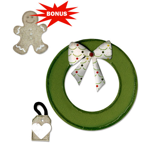 Sizzix - Basic Grey - Nordic Holiday Collection - Bigz and Embosslits Die - Wreath and Gingerbread Man