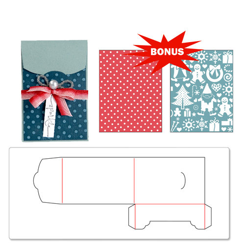 Sizzix - Basic Grey - Nordic Holiday Collection - Bigz XL Die and Embossing Folder - Gift Card Holder and Snow Village Set