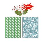 Sizzix - Basic Grey - Nordic Holiday Collection - Sizzlits Die and Embossing Folder - Alpine Pattern and Flowers Set