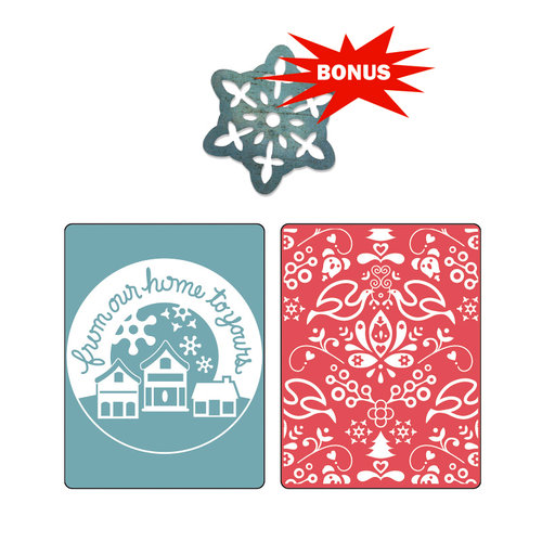 Sizzix - Basic Grey - Nordic Holiday Collection - Sizzlits Die and Embossing Folder - From Our Home and Yule Set
