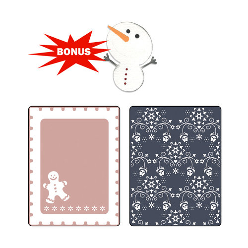 Sizzix - Basic Grey - Nordic Holiday Collection - Sizzlits Die and Embossing Folder - Gingerbread Man and Nordic Flowers Set