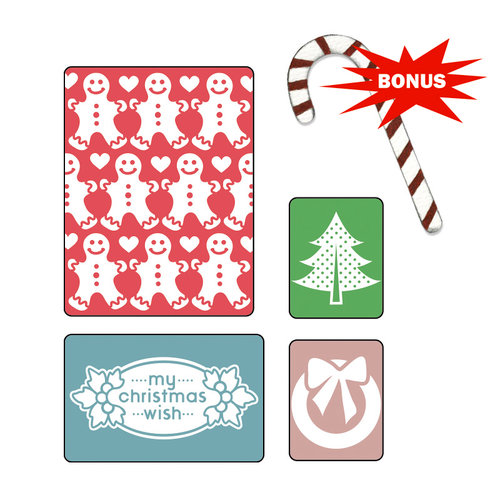 Sizzix - Basic Grey - Nordic Holiday Collection - Sizzlits Die and Embossing Folder - My Christmas Wish Set