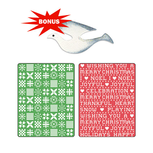 Sizzix - Basic Grey - Nordic Holiday Collection - Sizzlits Die and Embossing Folder - Nordic Sweater and Cross Stitch Set