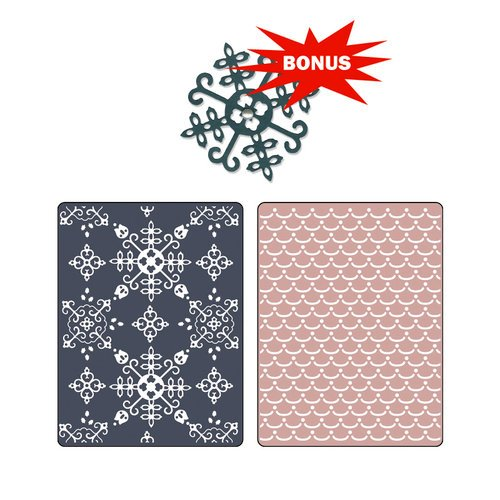Sizzix - Basic Grey - Nordic Holiday Collection - Sizzlits Die and Embossing Folder - Santa Lucia and Moguls Set