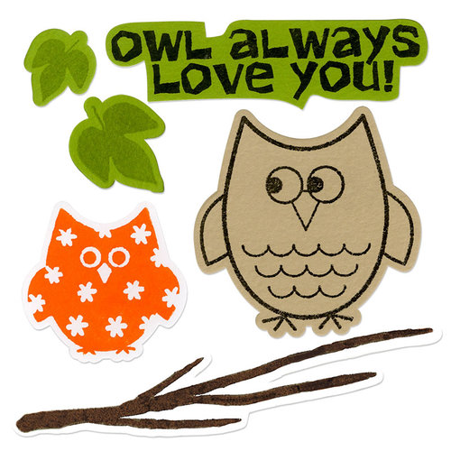 Sizzix - Holiday Collection - Framelits Die and Repositionable Rubber Stamp Set - Autumn Owls