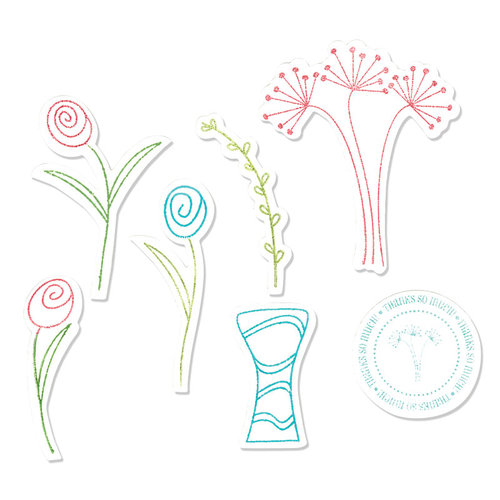 Sizzix - Holiday Collection - Framelits Die and Repositionable Rubber Stamp Set - Flowers and Vase