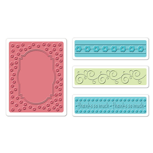 Sizzix - Textured Impressions - Holiday Collection - Embossing Folders - Ornate Frame and Borders Set