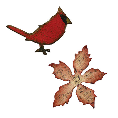 Sizzix - Tim Holtz - Alterations Collection - Movers and Shapers Die - Mini Cardinal and Poinsettia