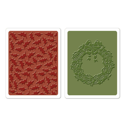 Sizzix - Tim Holtz - Texture Fades - Alterations Collection - Christmas - Embossing Folders - Holly Pattern and Wreath Set