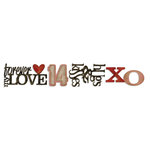 Sizzix - Tim Holtz - Alterations Collection - Sizzlits Decorative Strip Die - Stacked Words, Valentines