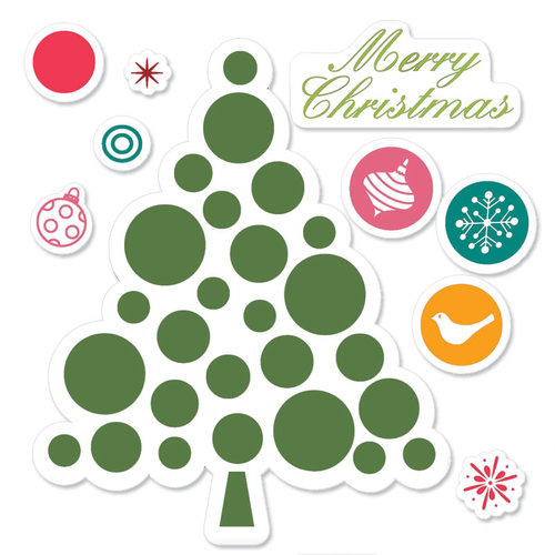Sizzix - Hero Arts - Framelits Die and Repositionable Rubber Stamp Set - Merry Christmas Tree