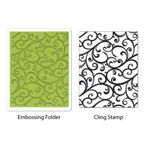 Sizzix - Stamp and Emboss - Hero Arts - Embossing Folder and Repositionable Rubber Stamp - Flourish Set