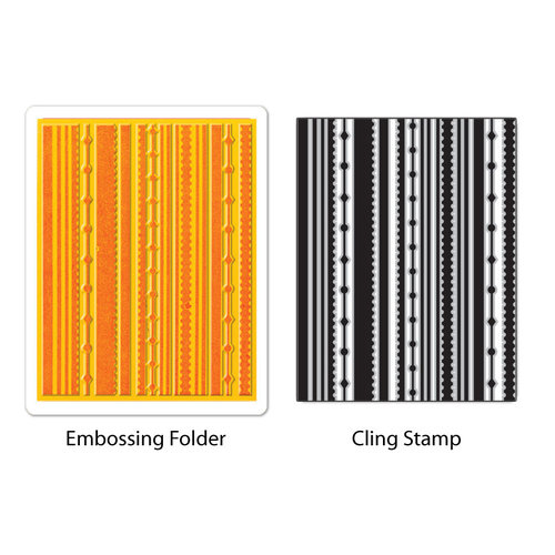 Sizzix - Stamp and Emboss - Hero Arts - Embossing Folder and Repositionable Rubber Stamp - Fun Stripes Set