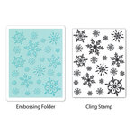 Sizzix - Stamp and Emboss - Hero Arts - Embossing Folder and Repositionable Rubber Stamp - Snowflake Background Set