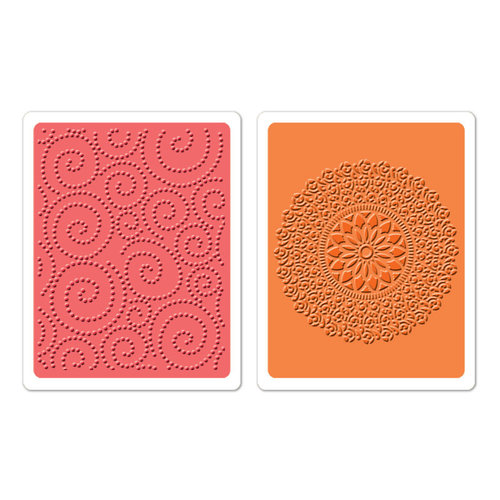 Sizzix - Textured Impressions - Hero Arts - Embossing Folders - Dot Swirl and Medallion Set