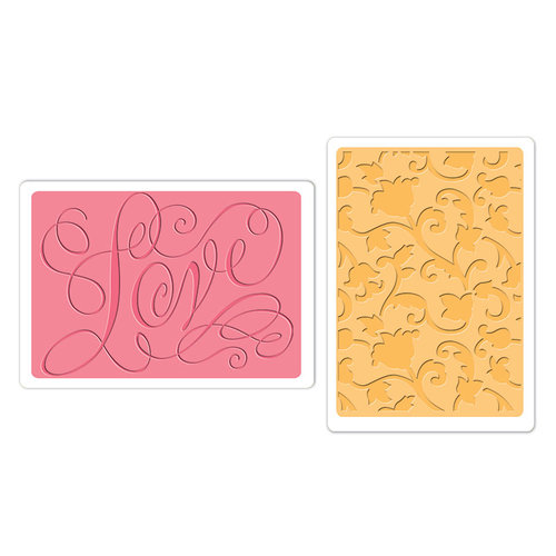 Sizzix - Textured Impressions - Embossing Folders - Love and Swirling Vines Set