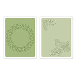 Sizzix - Susan's Garden Collection - Textured Impressions - Embossing Folders - Bird and Wreath Set