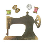 Sizzix - Antique Faire Collection - Sizzlits Die - Sewing Machine and Bobbins