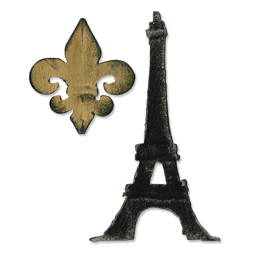 Sizzix - Tim Holtz - Bigz Die - Fleur de Lis and Eiffel Tower