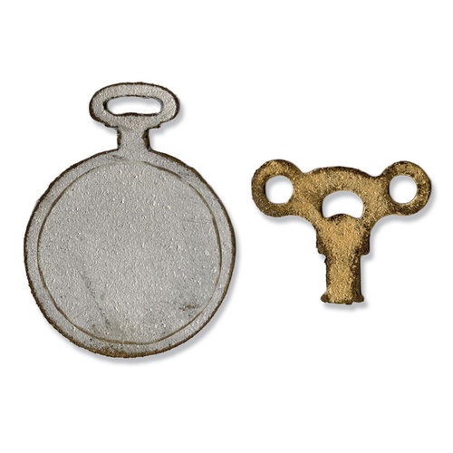 Sizzix - Tim Holtz - Alterations Collection - Movers and Shapers Die - Mini Clock Key and Pocket Watch