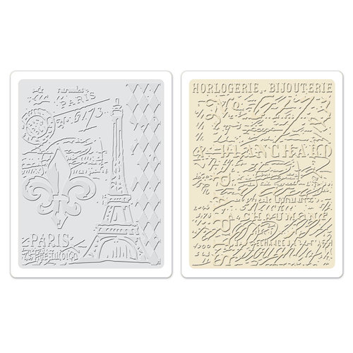 Sizzix - Tim Holtz - Alterations Collection - Texture Fades - Embossing Folders - Eiffel Tower and French Script Set