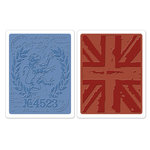 Sizzix - Tim Holtz - Alterations Collection - Texture Fades - Embossing Folders - London Icons and Union Jack Set