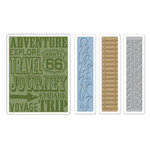 Sizzix - Tim Holtz - Alterations Collection - Texture Trades - Embossing Folders - Travel Signs Set
