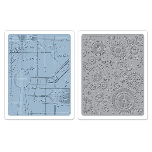 Sizzix - Tim Holtz - Alterations Collection - Texture Fades - Embossing Folders - Blueprint and Gears Set