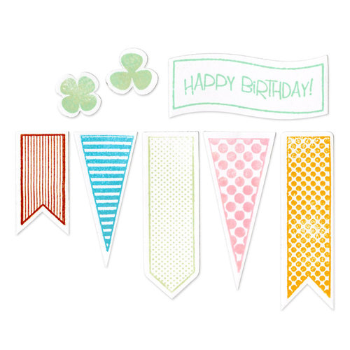 Sizzix - Framelits Die and Clear Acrylic Stamp Set - Banners 2