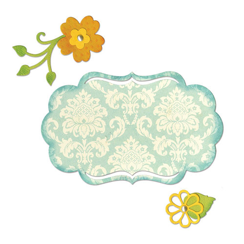 Sizzix - Thinlits Die - Fancy Label and Flowers