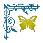 Sizzix - Thinlits Die - Die Cutting Template - Corner Flourish and Butterfly