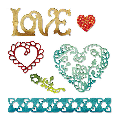 Sizzix - Thinlits Die - Love, Hearts and Border