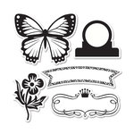 Sizzix - Echo Park - Framelits Die and Clear Acrylic Stamp Set - For the Record 2, Tailored