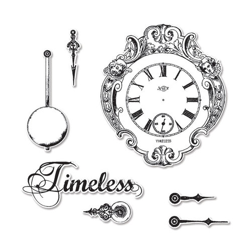 Sizzix - Graphic 45 - Framelits Die and Repositionable Rubber Stamp Set - Clocks
