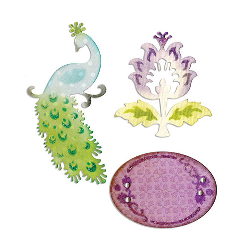 Sizzix - Thinlits Die - Peacock, Frame and Flower