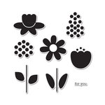 Sizzix - Doodlebug - Framelits - Die Cutting Template and Clear Acrylic Stamp Set - Bloom