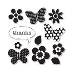 Sizzix - Doodlebug - Framelits Die and Clear Acrylic Stamp Set - Flutter Friends