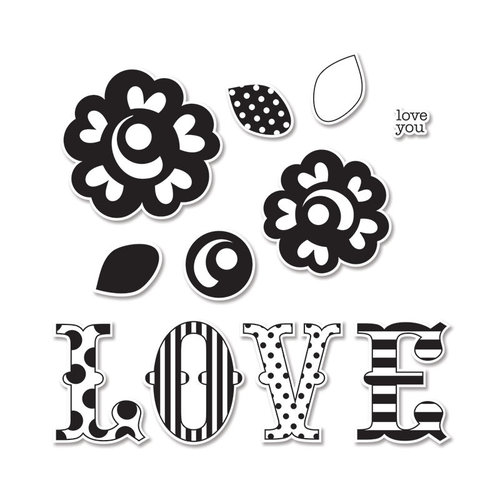Sizzix - Doodlebug - Framelits Die and Clear Acrylic Stamp Set - Love